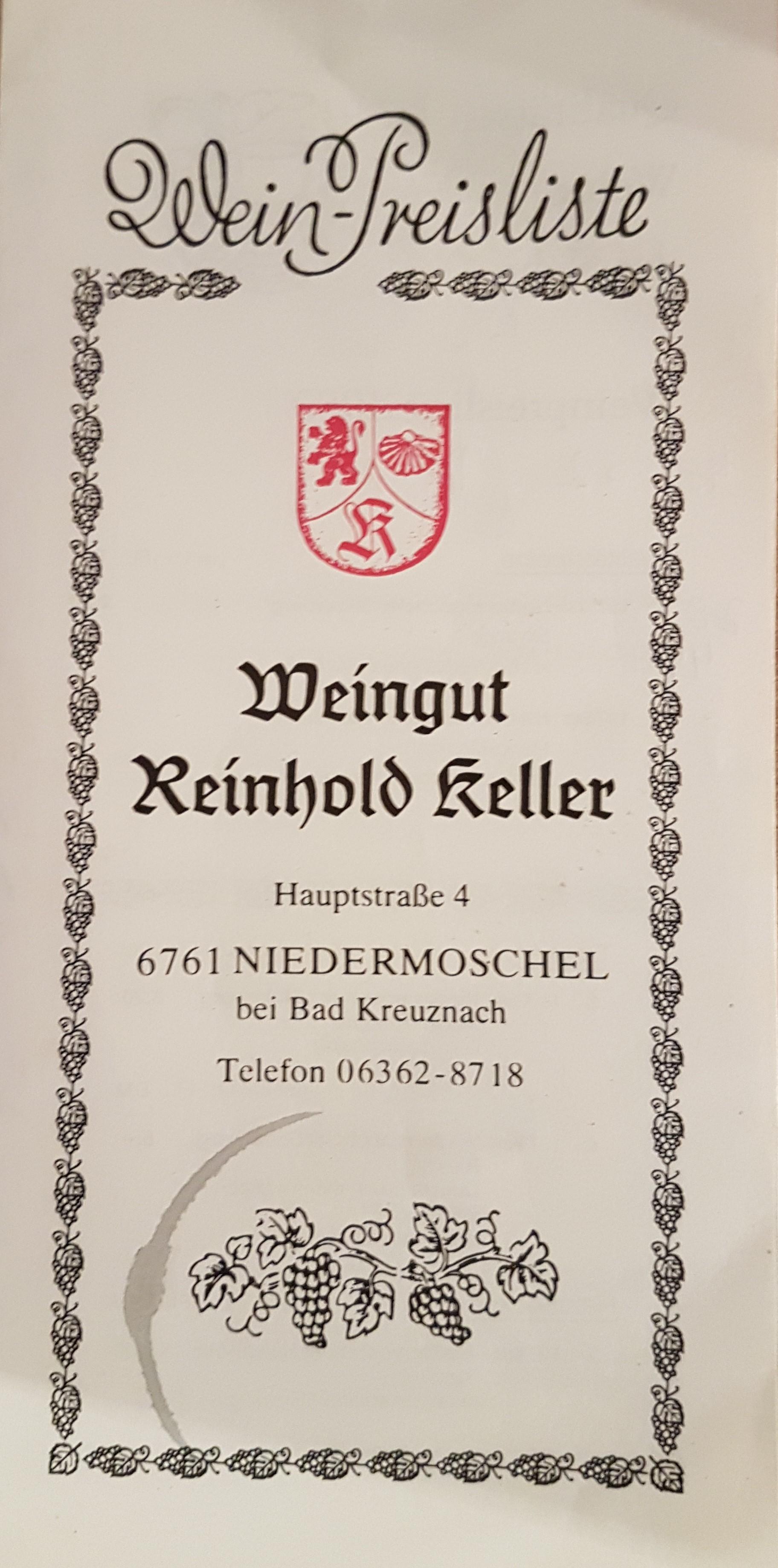 Weinpreisliste 1980