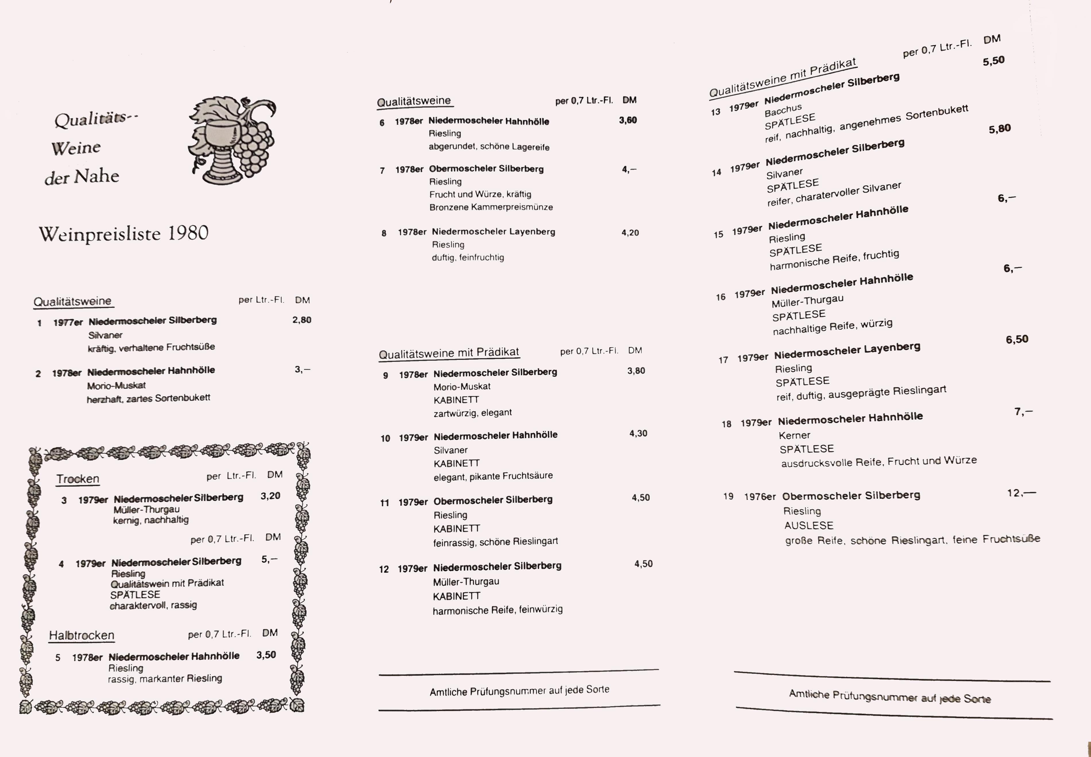 Weinpreisliste 1980 innen